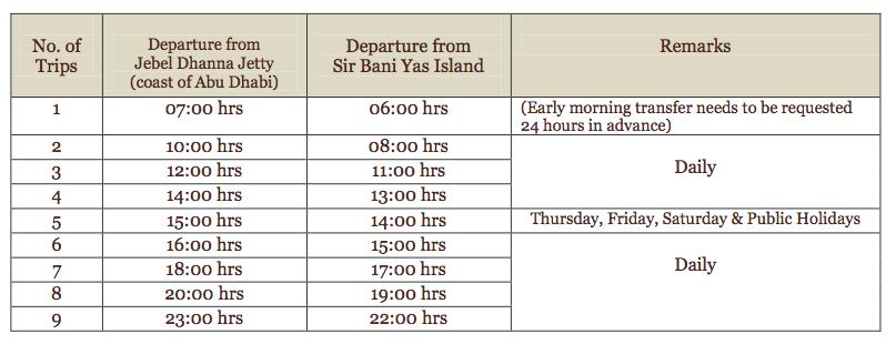 Orari traghetti per Sir Bani Yas Island